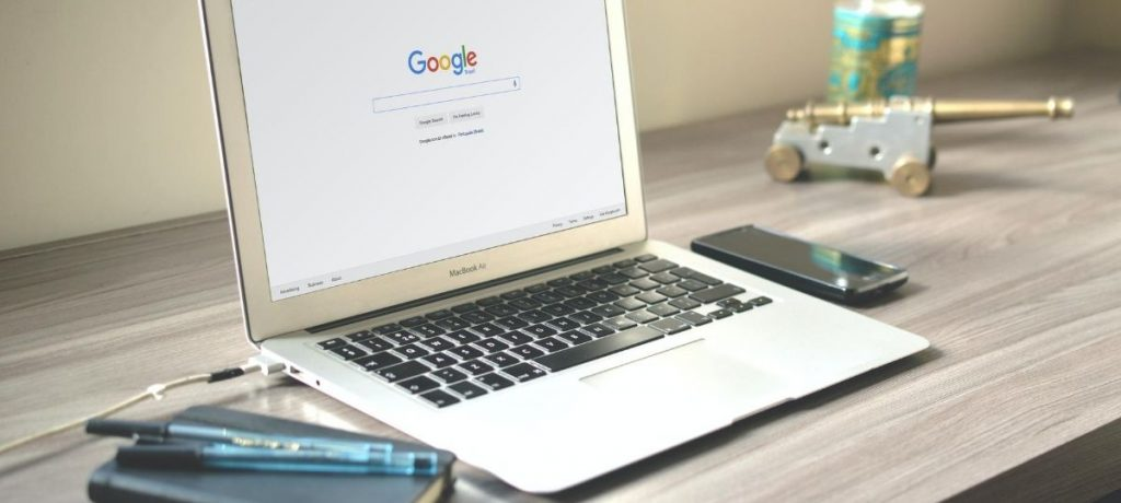 Laptop with Google Search open